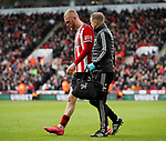 Oli McBurnie of Sheffield Utd substituted following a clash with Tim Krul of Norwich City during the Premier League match at Bramall Lane, Sheffield. Picture date: 7th March 2020. Picture credit should read: Simon Bellis/Sportimage