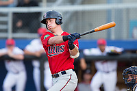 Brent Rooker (25) of the Elizabethton Twins follows through on his swing against the Danville Braves at American Legion Post 325 Field on July 1, 2017 in Danville, Virginia.  The Twins defeated the Braves 7-4.  (Brian Westerholt/Four Seam Images)