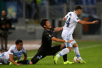 Hiroki Sakai of Marseille and Riza Durmisi of Lazio compete for the ball during the Uefa Europa League 2018/2019 football match between SS Lazio and Marseille at stadio Olimpico, Roma, November, 08, 2018 <br />  Foto Andrea Staccioli / Insidefoto