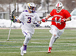 University at Albany Men's Lacrosse defeats Cornell 11-9 on Mar 4 at Casey Stadium.  T.D. Ierlan (#3) carries one of his 24 won faceoffs.  Scott Flynn (#44).