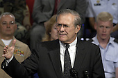 United States Secretary of Defense Donald H. Rumsfeld responds to a question during a Pentagon Town Hall meeting on May 11, 2004.  Rumsfeld and Vice Chairman of the Joint Chiefs of Staff General Peter Pace made opening remarks and then took questions from the audience of military and Department of Defense (DoD) civilians.                         <br /> Mandatory Credit: Helene Stikkel / DoD via CNP