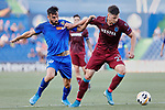 Enric Gallego of Getafe CF and Gaston Campi of Trabzonspor during UEFA Europa League match between Getafe CF and Trabzonspor at Coliseum Alfonso Perez in Getafe, Spain. September 19, 2019. (ALTERPHOTOS/A. Perez Meca)