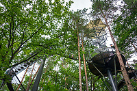 Deutschland, Rheinland-Pfalz, Dahner Felsenland im suedlichen Pfaelzerwald, Fischbach bei Dahn: Eingang zum Biosphaerenhaus, das seit dem Jahr 2000 ueber das Biosphaerenreservat Pfaelzerwald-Nordvogesen informiert -  Waldwipfelpfad | Germany, Rhineland-Palatinate, Dahner Felsenland at southern Palatinate Forest, Fischbach near Dahn: Biosphere House Palatinate Forest/ Northern Vosges - treetop trail