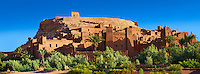 Adobe buildings of the Berber Ksar or fortified village of Ait Benhaddou, Sous-Massa-Dra Morocco