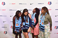Los Angeles, CA - Thursday January 12, 2017: Catrina Atanda , Kailen Sheridan, Miranda Freeman, Kayla Mills during the 2017 NWSL College Draft at JW Marriott Hotel.