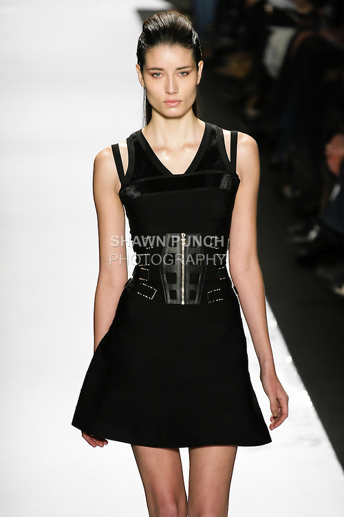 Marcelia Freesz walks runway in an outfit from the Herve Leger by Max Azria Fall 2011 collection, during Mercedes-Benz Fashion Week, Fall 2011.
