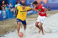 RAVENNA, ITALIA, 10 DE SETEMBRO 2011 - MUNDIAL BEACH SOCCER / BRASIL X PORTUGAL - Buru jogador do Brasil, durante a partida contra jogador Jordan do Portugal , válida pela semi-final do Mundial de Futebol de Areiano Estádio Del Mare, em Ravenna, na Itália, neste sábado (10).FOTO: VANESSA CARVALHO - NEWS FREE