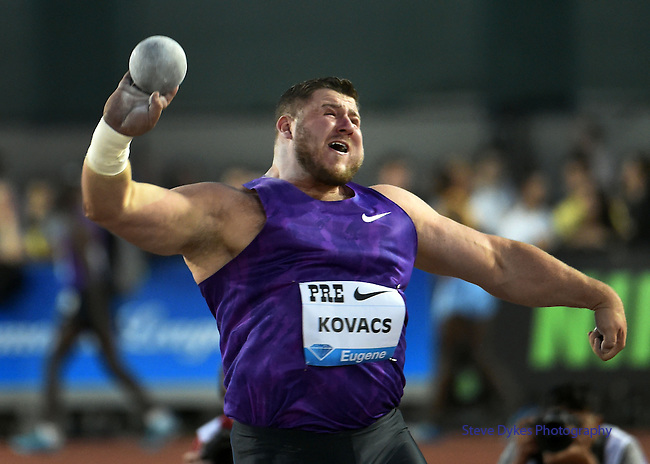 Joe Kovacs of the USA puts the shot in the Men's Shot Put on the opening day of the Prefontaine Classic at Hayward Field in Eugene, Oregon, USA, 29 MAY 2015.<br /> Kovacs won the event with a mark of 22.12m. (EPA Photo by Steve Dykes)