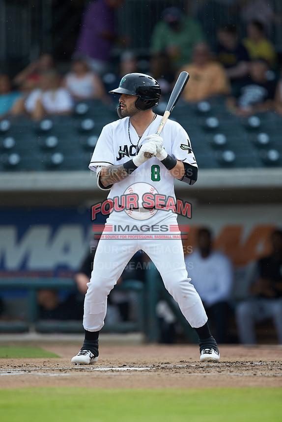 Frankie Tostado (8) of the Augusta GreenJackets at bat against the Kannapolis Intimidators at SRG Park on July 6, 2019 in North Augusta, South Carolina. The Intimidators defeated the GreenJackets 9-5. (Brian Westerholt/Four Seam Images)