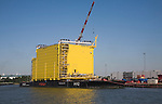 Construction of Dolwin Alpha converter platform station for offshore North Sea wind industry, Port of Rotterdam, Netherlands