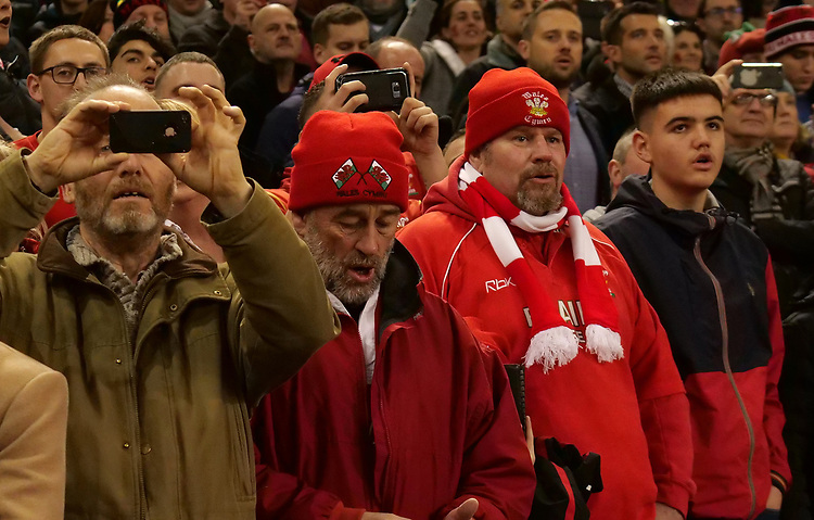 Welsh fans in good sprits prior to kick off<br /> <br /> Photographer Ian Cook/CameraSport<br /> <br /> Under Armour Series Autumn Internationals - Wales v South Africa - Saturday 24th November 2018 - Principality Stadium - Cardiff<br /> <br /> World Copyright © 2018 CameraSport. All rights reserved. 43 Linden Ave. Countesthorpe. Leicester. England. LE8 5PG - Tel: +44 (0) 116 277 4147 - admin@camerasport.com - www.camerasport.com