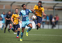 Nathan Tyson on Trial for Wycombe Wanderers battles Nathan Smart of Slough Town during the pre season friendly match between Slough Town and Wycombe Wanderers at Arbour Park Stadium, Slough, England on 8 July 2017. Photo by Andy Rowland.