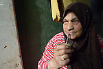 Yusra, a 60-year old woman who fled fighting in Homs, Syria, drinks mate in the Aamer al Sanad refugee settlement in Kab Elias, a town in Lebanon's Bekaa Valley which has filled with Syrian refugees. Lebanon hosts some 1.5 million refugees from Syria, yet allows no large camps to be established. So refugees have moved into poor neighborhoods or established small informal settlements, such as Aamer al Sanad, in border areas. International Orthodox Christian Charities, a member of the ACT Alliance, provides support for refugees in Kab Elias, including a community clinic.<br /> <br /> Parental consent obtained.