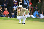 Fabrizio Zanotti (PAR) lines up his putt on the 1st green during the Final Day of the BMW PGA Championship Championship at, Wentworth Club, Surrey, England, 29th May 2011. (Photo Eoin Clarke/Golffile 2011)