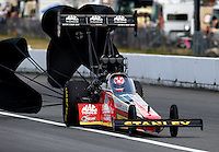 Aug. 2, 2014; Kent, WA, USA; NHRA top fuel dragster driver Doug Kalitta during qualifying for the Northwest Nationals at Pacific Raceways. Mandatory Credit: Mark J. Rebilas-USA TODAY Sports