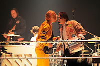 LONDON, ENGLAND - APRIL 12: Richard Reed Parry and and Will Butler of 'Arcade Fire' performing at SSE Arena on April 12, 2018 in London, England.<br /> CAP/MAR<br /> &copy;MAR/Capital Pictures