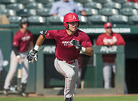 Hawgs Illustrated/BEN GOFF <br /> Jack Kenley of Red team hits a single Wednesday, Oct. 11, 2017, during the Arkansas baseball Fall World Series scrimmage at Baum Stadium in Fayetteville.