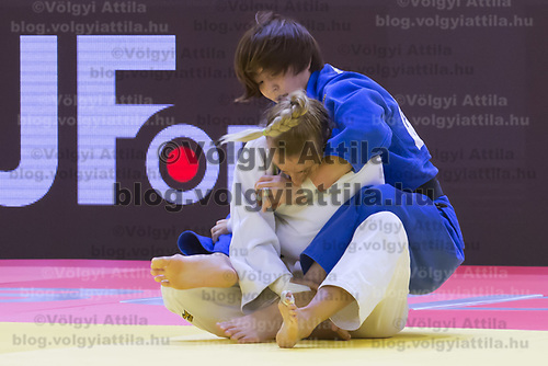 Natsumi Tsunoda (back) of Japan and Charline Van Snick (front) of Belgium fight during the Women -52 kg category at the Judo Grand Prix Budapest 2018 international judo tournament held in Budapest, Hungary on Aug. 10, 2018. ATTILA VOLGYI