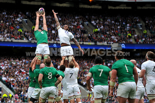 Forwards compete for the ball at a lineout. QBE International match between England and Ireland on September 5, 2015 at Twickenham Stadium in London, England. Photo by: Patrick Khachfe / Onside Images