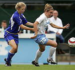 09 October 2005: North Carolina's Heather O'Reilly (20) works past a Duke defender. The Duke Blue Devils defeated the #1 ranked Carolina Tar Heels 2-1 at Fetzer Field in Chapel Hill, North Carolina in a regular season Atlantic Coast Conference women's soccer game.
