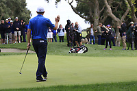 Padraig Harrington (IRL) sinks his birdie putt on the 10th green during Friday's storm delayed Round 2 of the Andalucia Valderrama Masters 2018 hosted by the Sergio Foundation, held at Real Golf de Valderrama, Sotogrande, San Roque, Spain. 19th October 2018.<br /> Picture: Eoin Clarke | Golffile<br /> <br /> <br /> All photos usage must carry mandatory copyright credit (&copy; Golffile | Eoin Clarke)