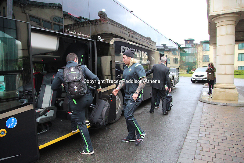 Friday 13 February 2015<br /> Pictured: Wales Rugby Team<br /> Re: Wales rugby team depart for Scotland ahead of the Scotland v Wales game in Murrayfield, Edinburgh on Sunday.