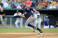 Rome Braves second baseman Fernando De Los Santos #1 runs to first during a game against the Asheville Tourists at McCormick Field on June 23, 2012 in Asheville, North Carolina.  The Braves defeated the Tourists 4-2. (Tony Farlow/Four Seam Images).