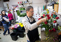NWA Democrat-Gazette/JASON IVESTER<br /> Rusty Eldridge works on a flower arrangement Monday, Feb. 13, 2017, at Springdale Flower Shop. Eldridge, owner, estimates the shop will sell between 3,000 and 4,000 roses for the Valentine's Day holiday.