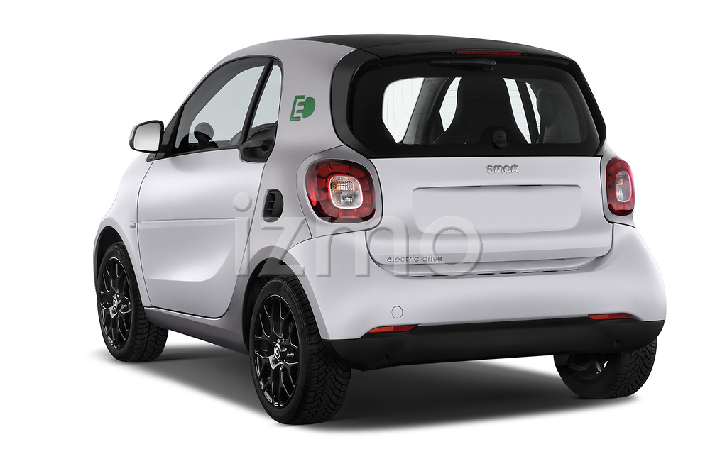 Car pictures of rear three quarter view of a 2018 Smart fortwo prime coupe 3 Door micro car angular rear