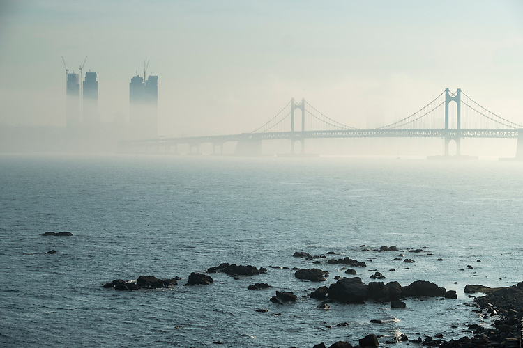 The Gwangandaegyo or Diamond Bridge is a suspension bridge located in Busan, South Korea. It connects Haeundae-gu to Suyeong-gu.