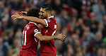 Mohamed Salah of Liverpool celebrates scoring with Emre Can during the Champions League playoff round at the Anfield Stadium, Liverpool. Picture date 23rd August 2017. Picture credit should read: Lynne Cameron/Sportimage