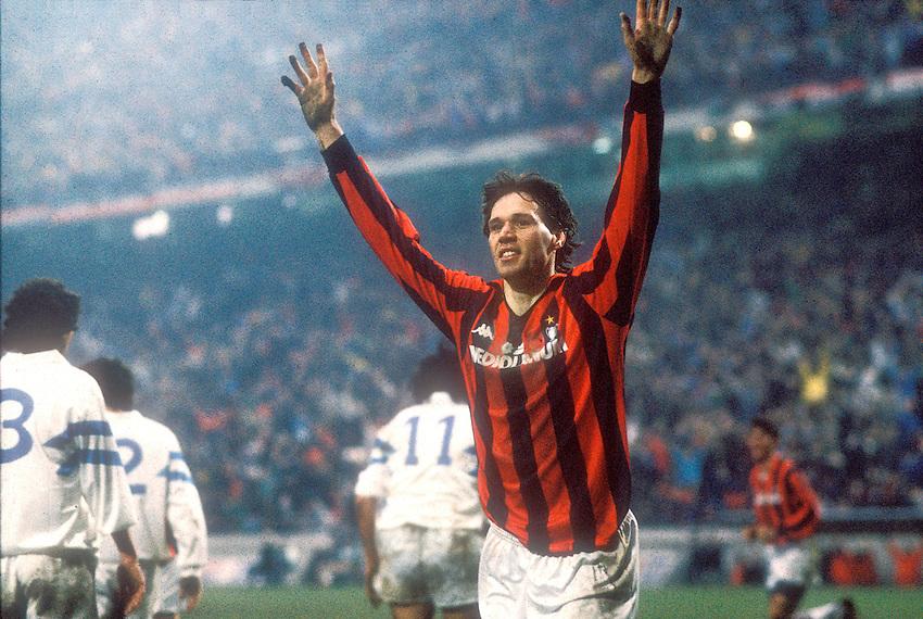 1994, Italy, Marco van BAsten scores for AC Milan. photo Michael Kooren