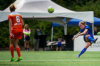 Seattle, Washington - Sunday, June 12, 2016: Seattle Reign FC midfielder Kim Little (8) clears the ball during a regular season National Women's Soccer League (NWSL) match at Memorial Stadium. Seattle won 1-0.