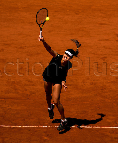 04.06.2015. Paris, France. Roland Garros French Open. Ana Ivanovic of Serbia in action during her Women's Singles match against Lucie Safarova of Czech Republic on day twelve of the 2015 French Open 2015 in Paris, France. Safarova won the match 7-5 7-5 to move into the final.