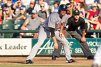 Fresno Grizzlies outfielder Roger Kieschnick #39 leads off during the Pacific Coast League baseball game against the Round Rock Express on May 19, 2012 at The Dell Diamond in Round Rock, Texas. The Grizzlies defeated the Express 10-4. (Andrew Woolley/Four Seam Images).