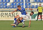 2018-08-01 / voetbal / seizoen 2018 - 2019 / ASV Geel - Patro Eisden Maasmechelen / een gevecht om de bal tussen Jean-Michel Hoebergs (l) (Geel) en Karim Ezzahri (r) (Patro Eisden)