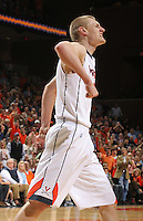 Virginia Cavaliers guard Paul Jesperson (2) reacts during the game against North Carolina in Charlottesville, Va. North Carolina defeated Virginia 54-51.