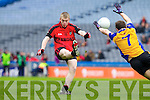 Kevin O'Sullivan Kenmare in Action against Shane Kenny  Ballinasloe in the Junior All Ireland Club Final in Croke park on Sunday.