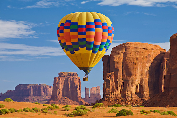 Hot air balloon over Monument Valley, northern Arizona.