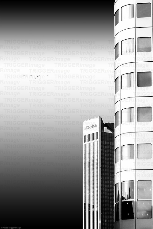 The photograph of an isolated, modern highrise building.