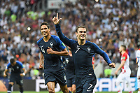 Raphael Varane and Antoine Griezmann of France celebrate a goal during the World Cup Final match between France and Croatia at Luzhniki Stadium on July 15, 2018 in Moscow, Russia. (Photo by Anthony Dibon/Icon Sport)