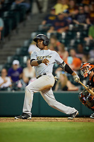 Trenton Thunder shortstop Abiatal Avelino (9) follows through on a swing during a game against the Richmond Flying Squirrels on May 11, 2018 at The Diamond in Richmond, Virginia.  Richmond defeated Trenton 6-1.  (Mike Janes/Four Seam Images)