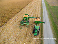 63801-08115 Corn Harvest, unloading corn into grain cart John Deere- aerial Marion Co. IL