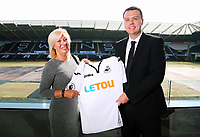 Pictured L-R: CHECK NAME and Paul Fox, CEO of Letou. Monday 19 June 2017<br />Re: Swansea City FC launch their new home and away kits and announce Letou as their new sponsor at the Liberty Stadium, Swansea, Wales, UK.