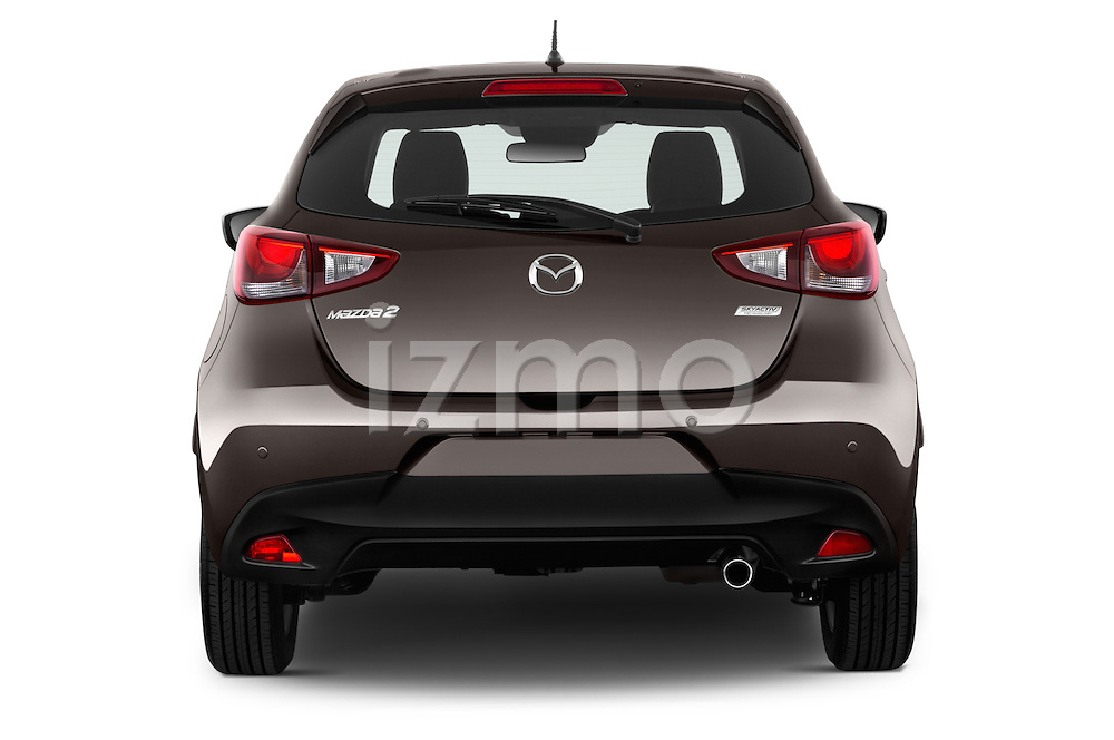 Straight rear view of a 2015 Mazda Mazda2 Pulse Edition 5 Door Hatchback 2WD Rear View  stock images