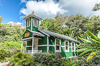 Little historic green church named Ierusalema Hou Church in Halawa, Moloka'i