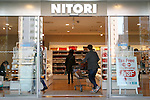 Customers enter to the new Nitori department store in Shinjuku's Takashimaya Times Square on December 9, 2016, Tokyo, Japan. Nitori Holdings opened the new furniture and home accessory store in the South Hall of Tokyo's Takashimaya Times Square commercial complex on December 1st. The company plans to increase the number of its stores to 2000 overseas and 1000 in Japan by 2032. (Photo by Rodrigo Reyes Marin/AFLO)