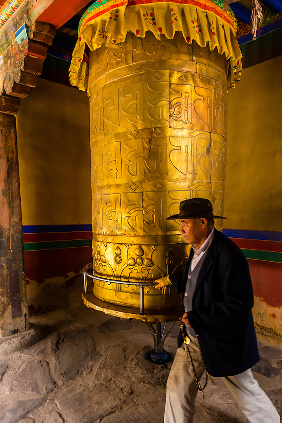 Prayer wheel, Tandruk Monastery, near Tsedang, Tibet (Xizang), China.