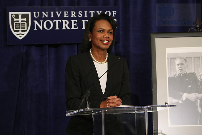 United States Secretary of State Condoleeza Rice speaks during a 90th birthday celebration for Notre Dame President Emeritus Rev. Theodore Hesburgh at the Smithsonian Institution's National Portait Gallery in Washington D.C.  Photo by Matt Cashore