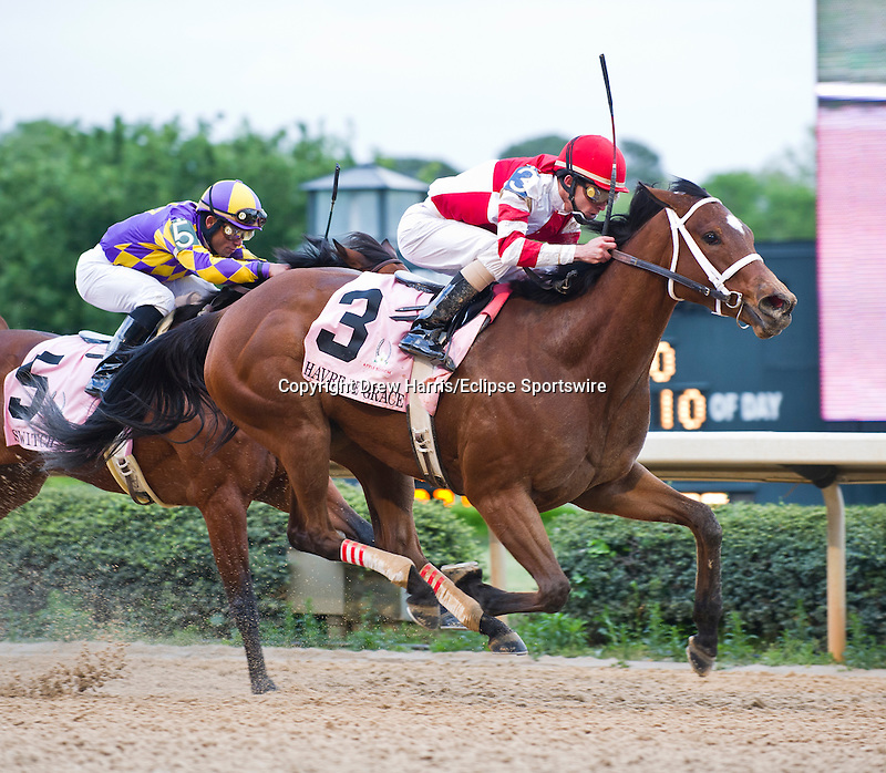 15 APR - Jockey Ramon Dominguez and Larry Jones trained Harve de Grace (3) won the 47th running of the Apple Blossom Handicap at Oaklawn Park in Hot Springs, Arkansas.